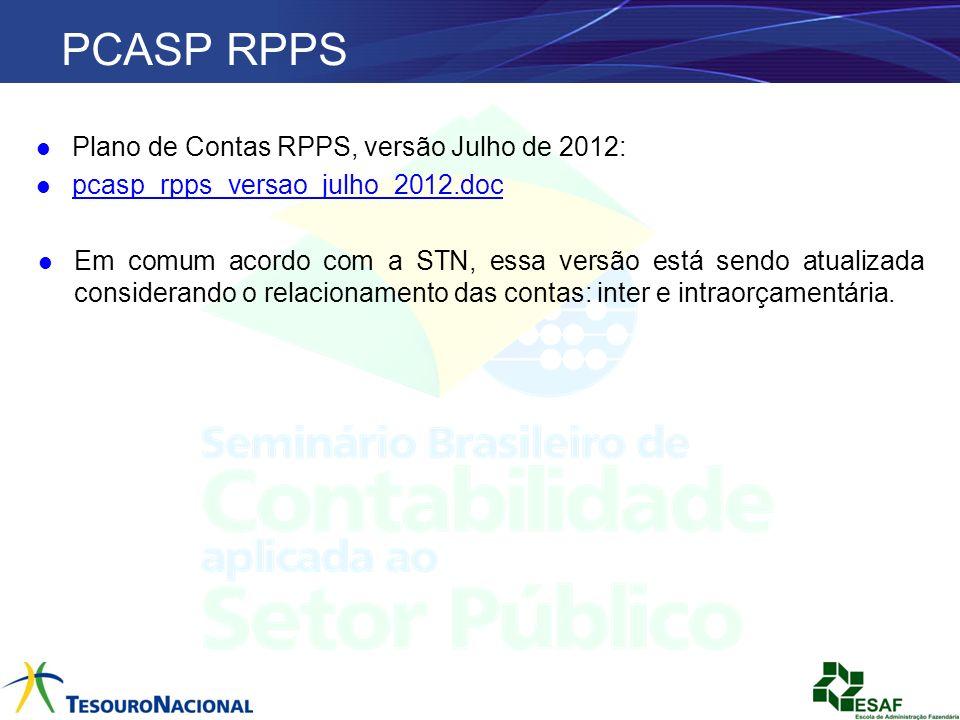 PCASP RPPS Plano de Contas RPPS, versão Julho de 2012: pcasp_rpps_versao_julho_2012.doc Em comum acordo com a STN, essa versão está sendo atualizada c