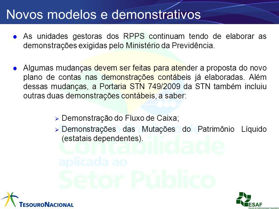 Novos modelos e demonstrativos As unidades gestoras dos RPPS continuam tendo de elaborar as demonstrações exigidas pelo Ministério da Previdência. Alg