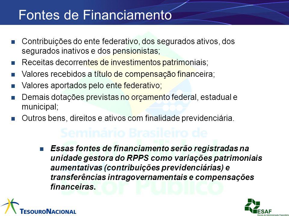 Contribuições do ente federativo, dos segurados ativos, dos segurados inativos e dos pensionistas; Receitas decorrentes de investimentos patrimoniais;