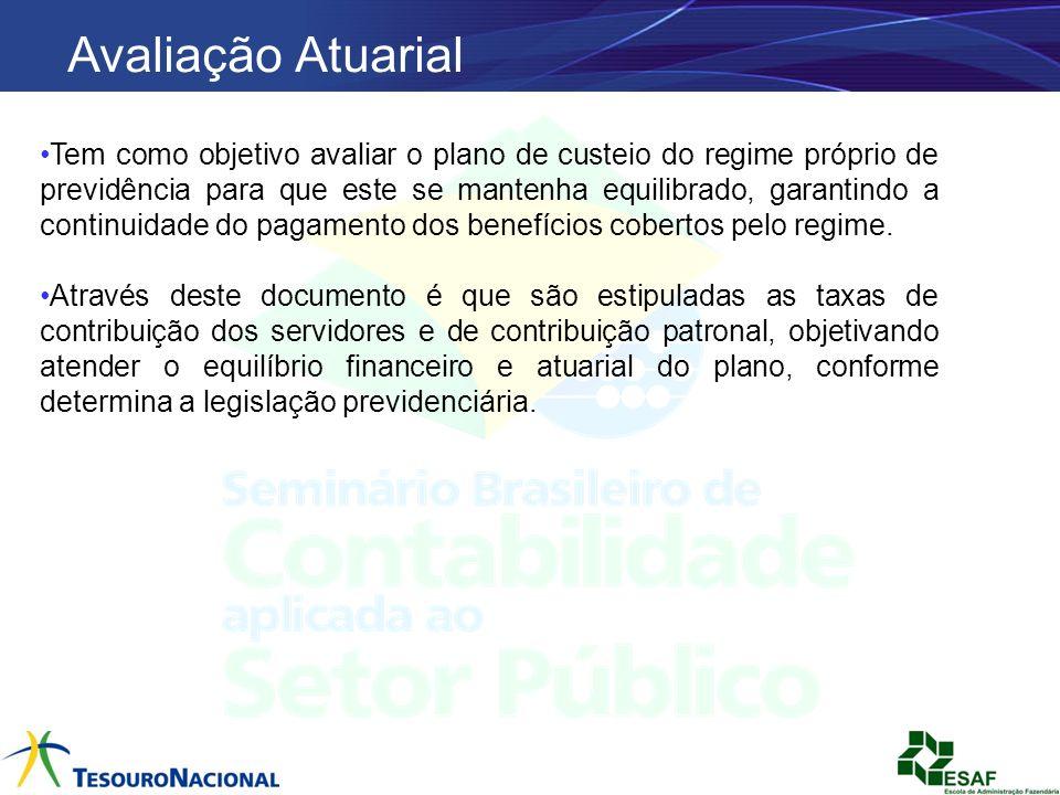 Avaliação Atuarial Tem como objetivo avaliar o plano de custeio do regime próprio de previdência para que este se mantenha equilibrado, garantindo a c
