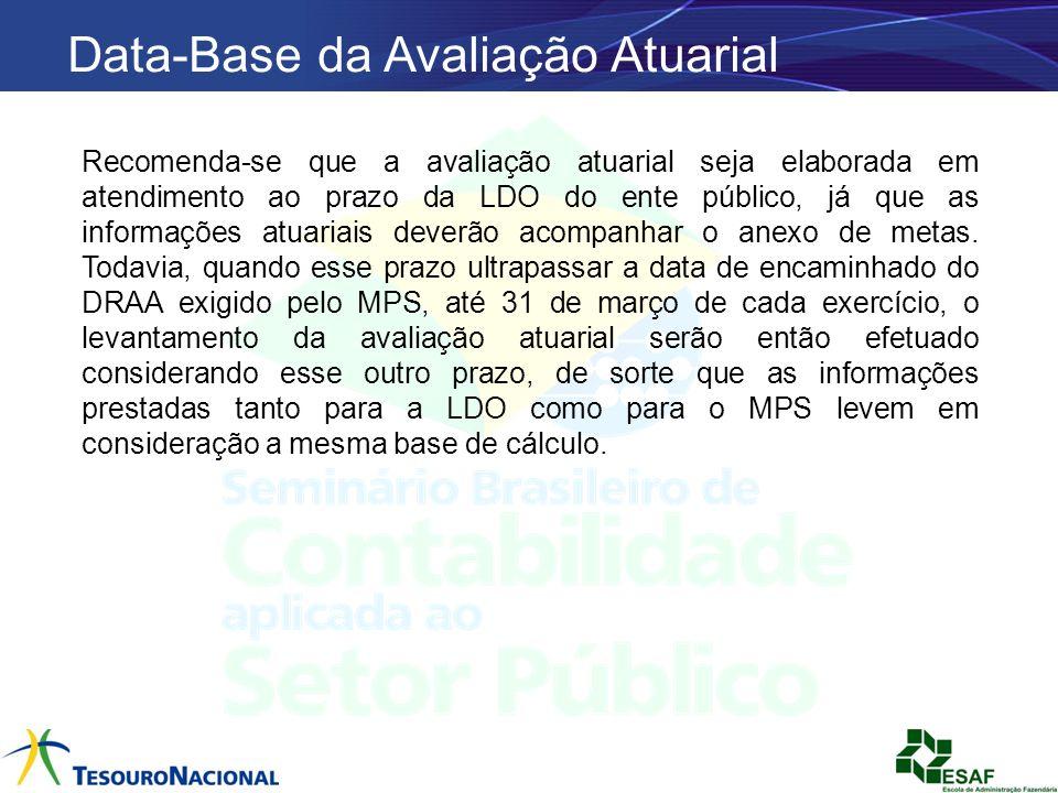 Data-Base da Avaliação Atuarial Recomenda-se que a avaliação atuarial seja elaborada em atendimento ao prazo da LDO do ente público, já que as informa