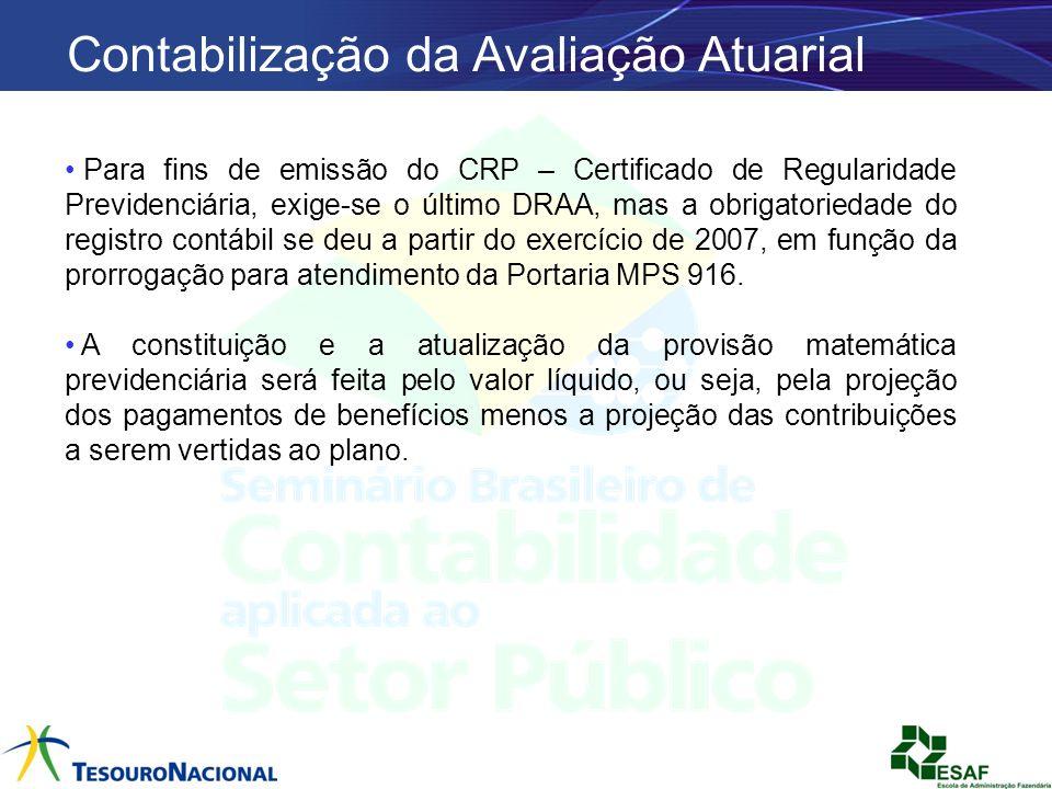 Contabilização da Avaliação Atuarial Para fins de emissão do CRP – Certificado de Regularidade Previdenciária, exige-se o último DRAA, mas a obrigator