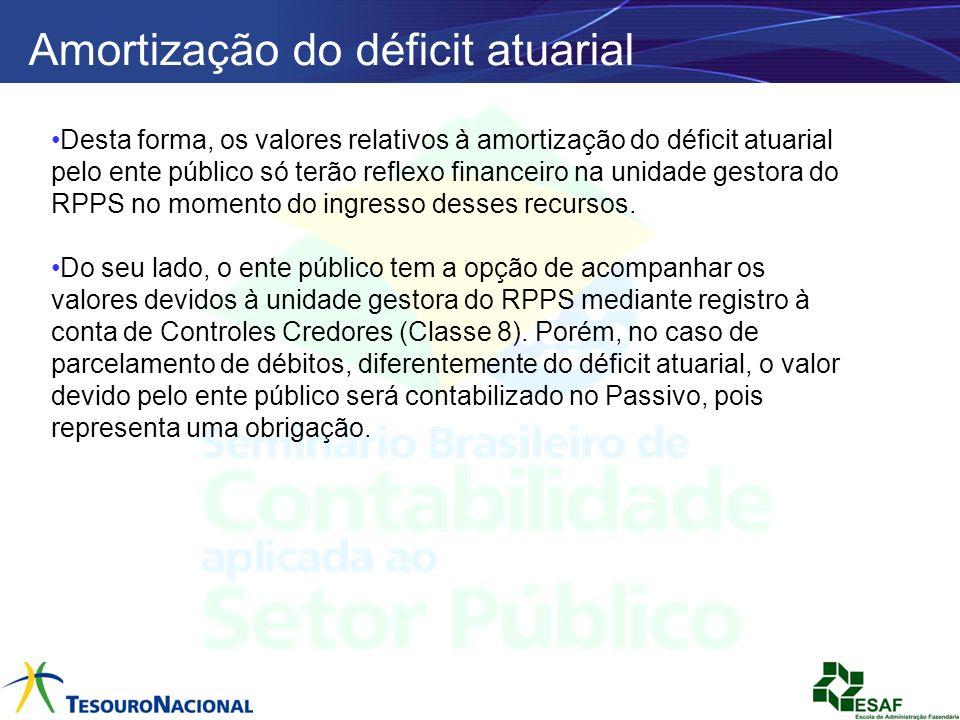 Amortização do déficit atuarial Desta forma, os valores relativos à amortização do déficit atuarial pelo ente público só terão reflexo financeiro na u
