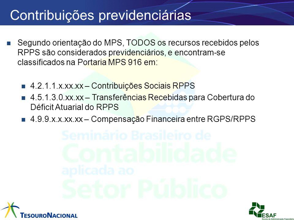 Contribuições previdenciárias Segundo orientação do MPS, TODOS os recursos recebidos pelos RPPS são considerados previdenciários, e encontram-se class
