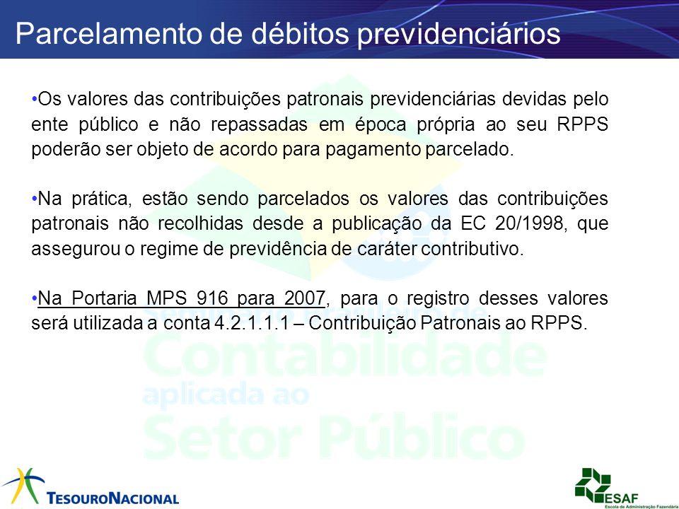Parcelamento de débitos previdenciários Os valores das contribuições patronais previdenciárias devidas pelo ente público e não repassadas em época pró