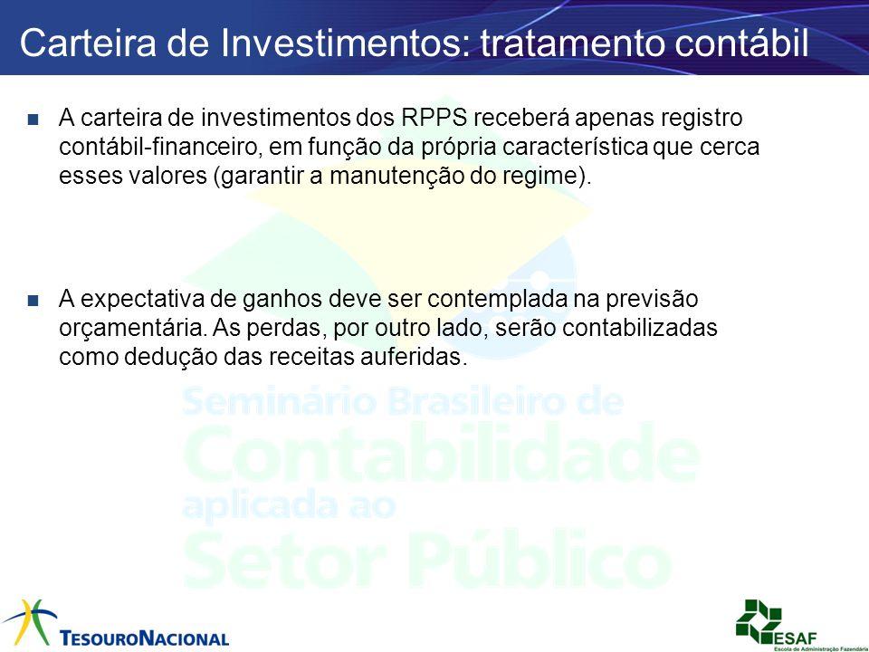 A carteira de investimentos dos RPPS receberá apenas registro contábil-financeiro, em função da própria característica que cerca esses valores (garant