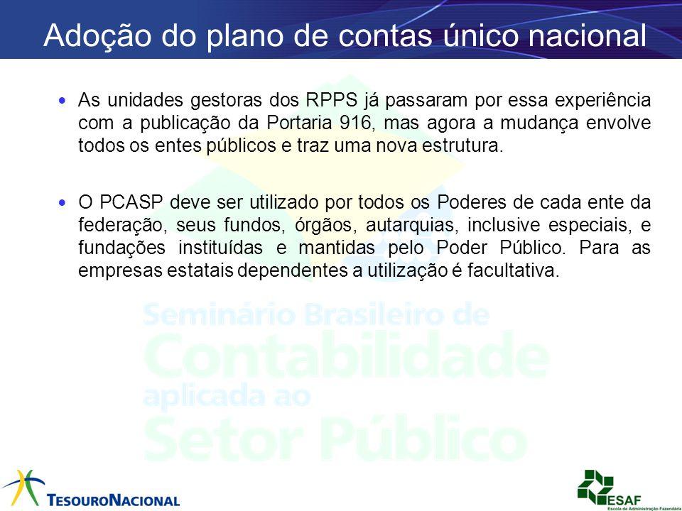 Adoção do plano de contas único nacional As unidades gestoras dos RPPS já passaram por essa experiência com a publicação da Portaria 916, mas agora a