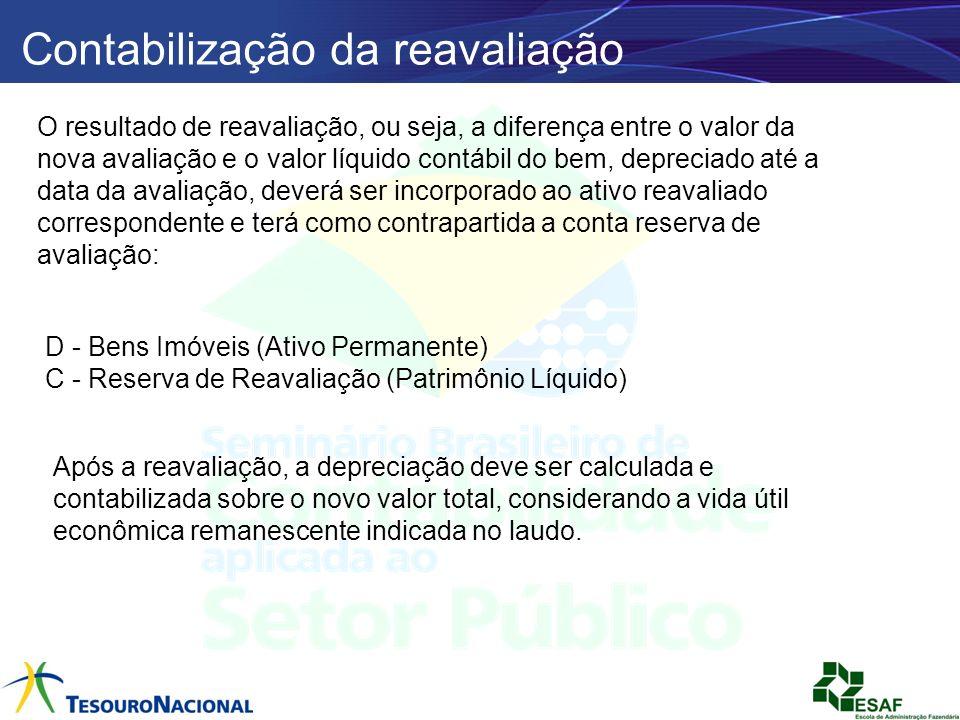 Contabilização da reavaliação O resultado de reavaliação, ou seja, a diferença entre o valor da nova avaliação e o valor líquido contábil do bem, depr