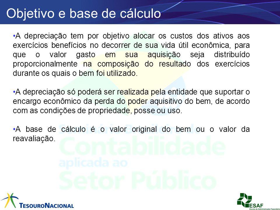 Objetivo e base de cálculo A depreciação tem por objetivo alocar os custos dos ativos aos exercícios benefícios no decorrer de sua vida útil econômica