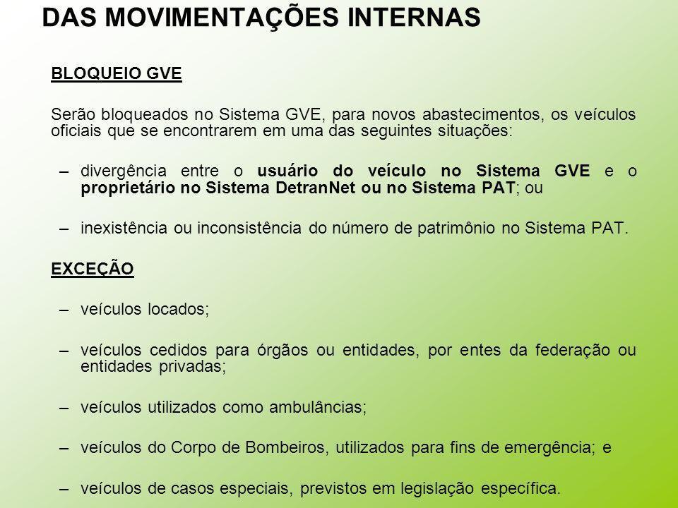 DAS MOVIMENTAÇÕES INTERNAS BLOQUEIO GVE Serão bloqueados no Sistema GVE, para novos abastecimentos, os veículos oficiais que se encontrarem em uma das