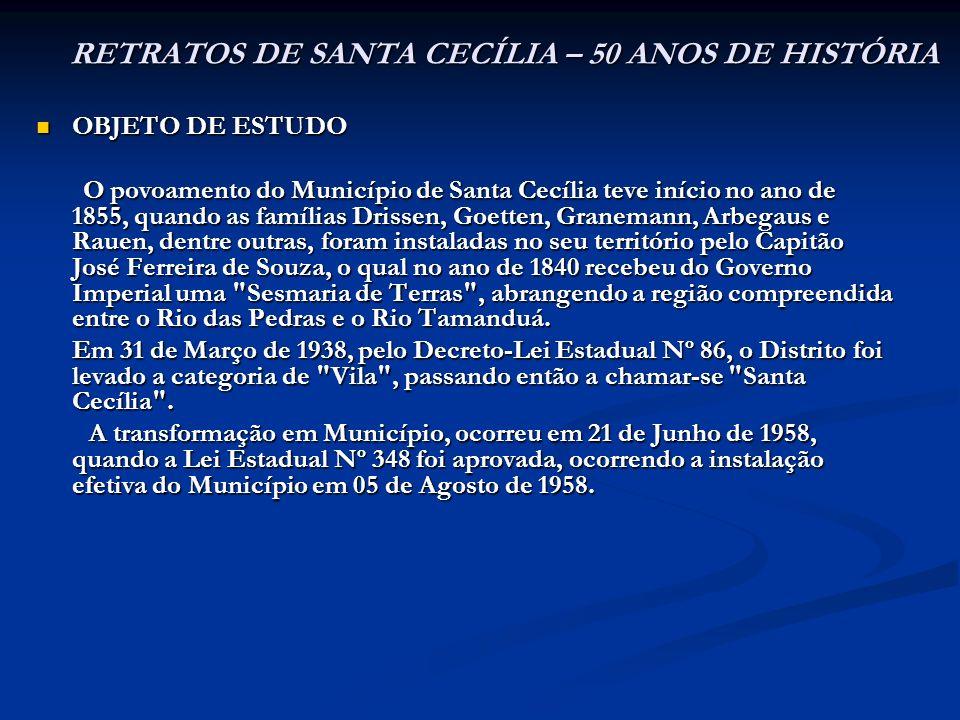 OBJETO DE ESTUDO OBJETO DE ESTUDO O povoamento do Município de Santa Cecília teve início no ano de 1855, quando as famílias Drissen, Goetten, Graneman