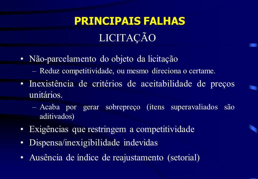 PRINCIPAIS FALHAS LICITAÇÃO Não-parcelamento do objeto da licitação –Reduz competitividade, ou mesmo direciona o certame. Inexistência de critérios de