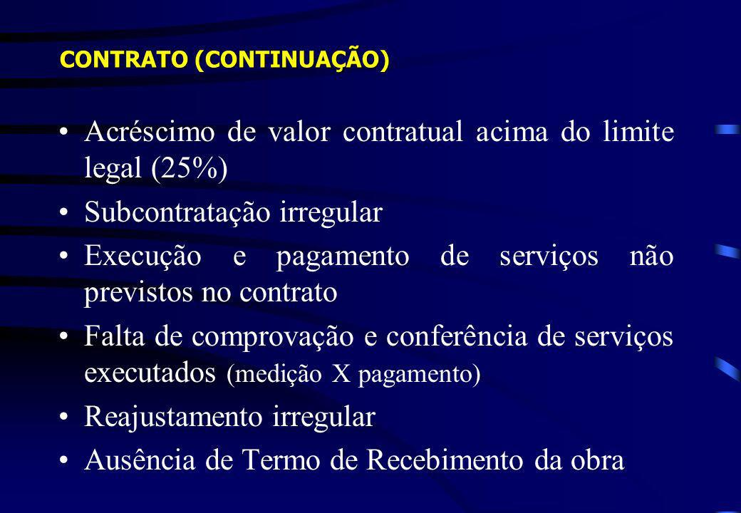 Acréscimo de valor contratual acima do limite legal (25%) Subcontratação irregular Execução e pagamento de serviços não previstos no contrato Falta de