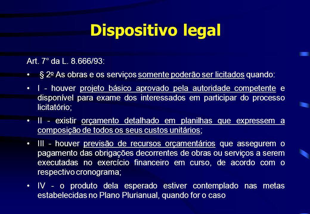 Dispositivo legal Art. 7° da L. 8.666/93: § 2 o As obras e os serviços somente poderão ser licitados quando: I - houver projeto básico aprovado pela a