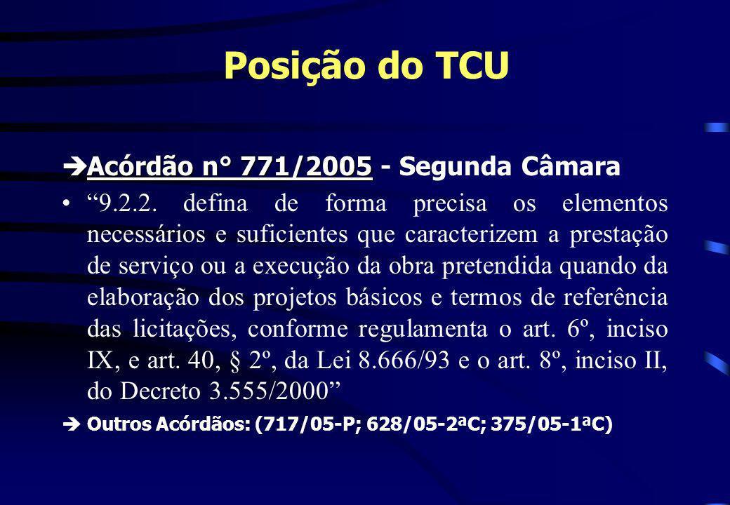 Posição do TCU èAcórdão n° 771/2005 èAcórdão n° 771/2005 - Segunda Câmara 9.2.2. defina de forma precisa os elementos necessários e suficientes que ca