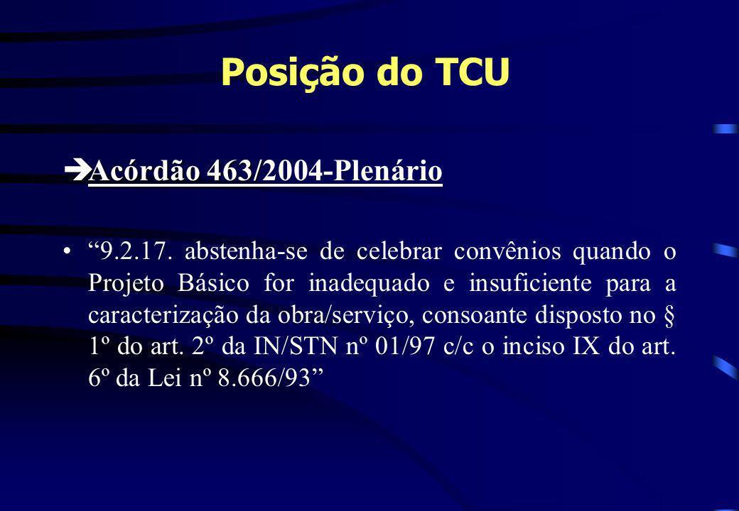 Posição do TCU èAcórdão 463/ èAcórdão 463/2004-Plenário 9.2.17. abstenha-se de celebrar convênios quando o Projeto Básico for inadequado e insuficient