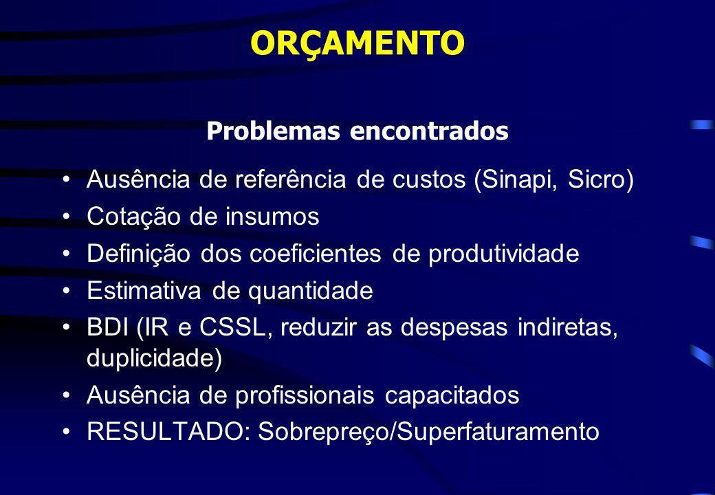 ORÇAMENTO Problemas encontrados Ausência de referência de custos (Sinapi, Sicro) Cotação de insumos Definição dos coeficientes de produtividade Estima