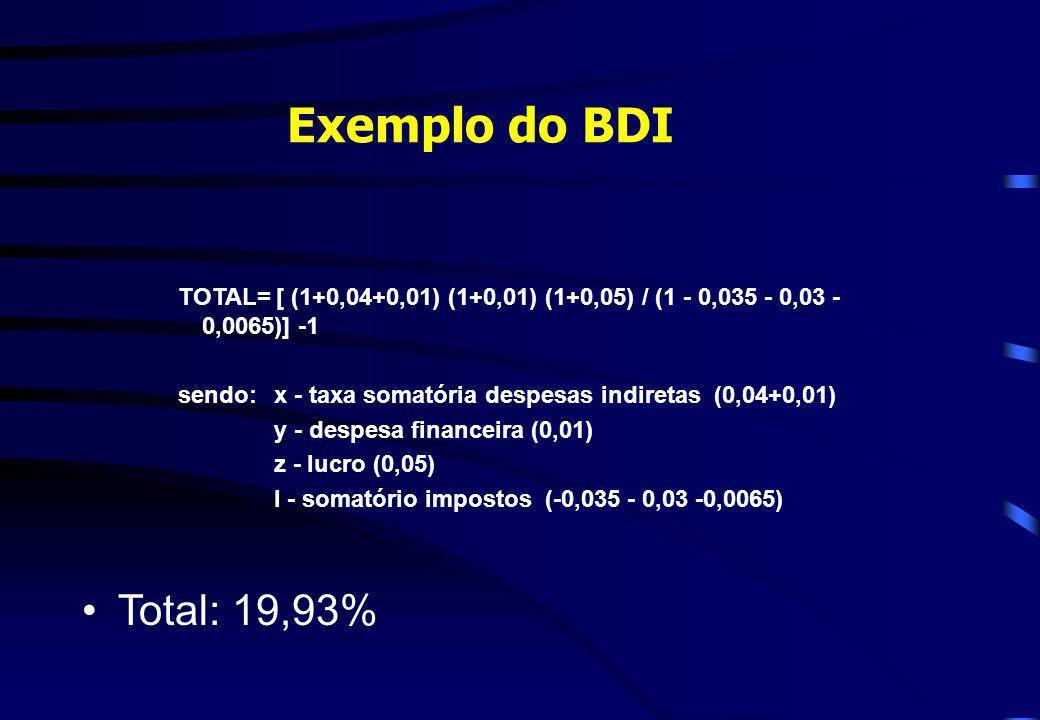 Exemplo do BDI TOTAL= [ (1+0,04+0,01) (1+0,01) (1+0,05) / (1 - 0,035 - 0,03 - 0,0065)] -1 sendo: x - taxa somatória despesas indiretas (0,04+0,01) y -