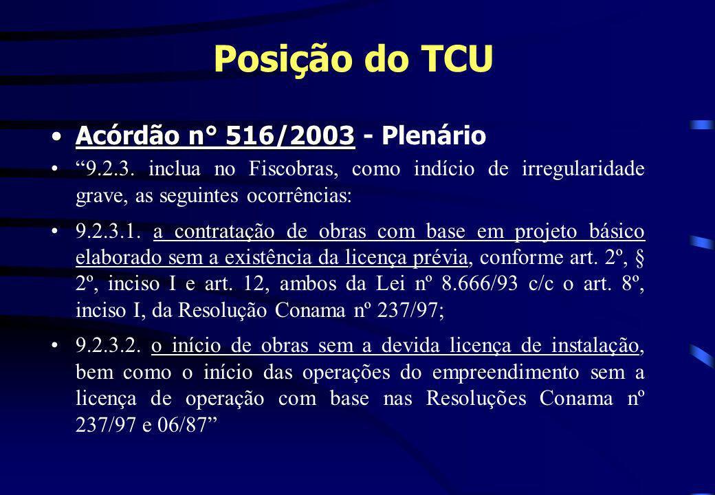 Posição do TCU Acórdão n° 516/2003Acórdão n° 516/2003 - Plenário 9.2.3. inclua no Fiscobras, como indício de irregularidade grave, as seguintes ocorrê
