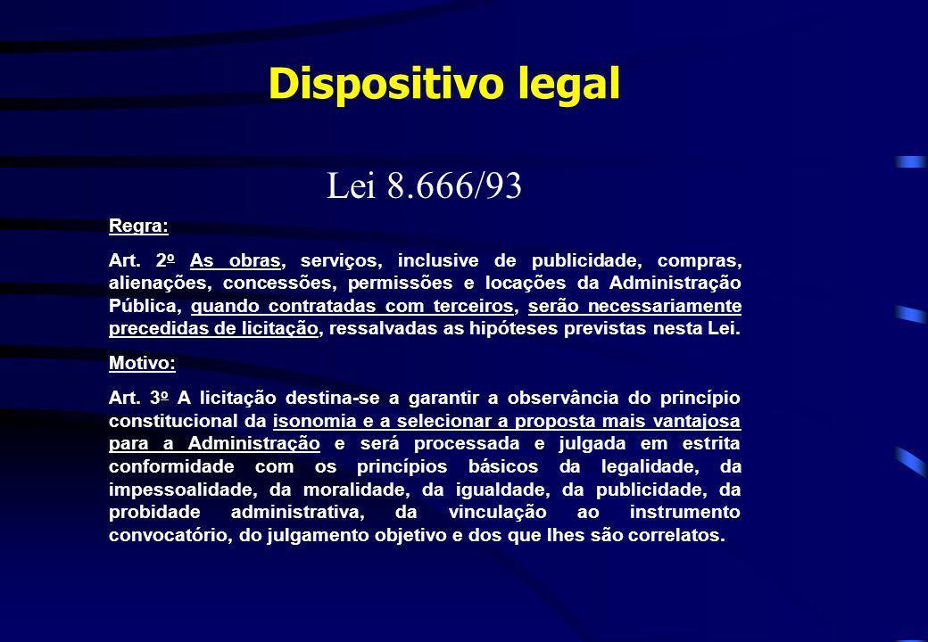 Dispositivo legal Lei 8.666/93 Regra: Art. 2 o As obras, serviços, inclusive de publicidade, compras, alienações, concessões, permissões e locações da