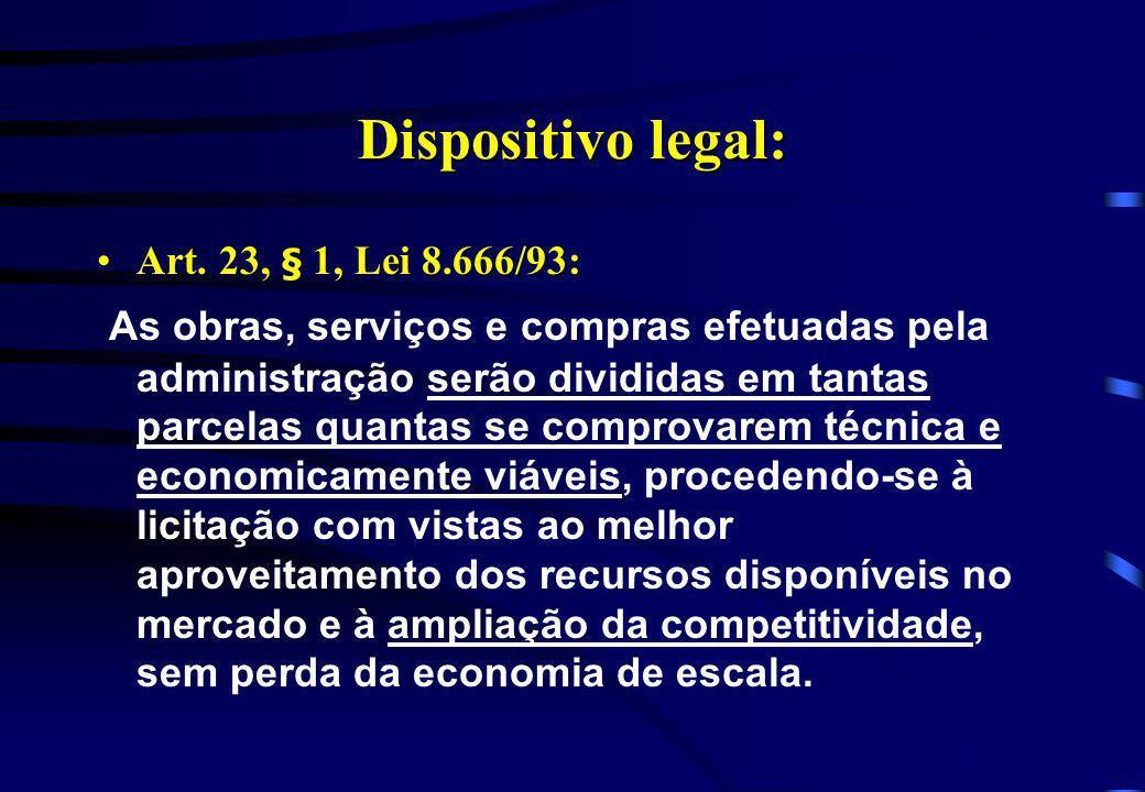 Dispositivo legal: Art. 23, § 1, Lei 8.666/93:Art. 23, § 1, Lei 8.666/93: As obras, serviços e compras efetuadas pela administração serão divididas em