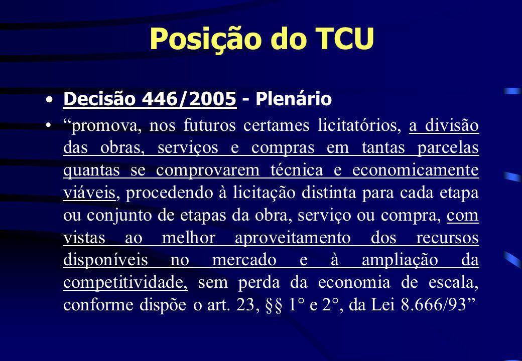 Posição do TCU Decisão 446/2005Decisão 446/2005 - Plenário promova, nos futuros certames licitatórios, a divisão das obras, serviços e compras em tant