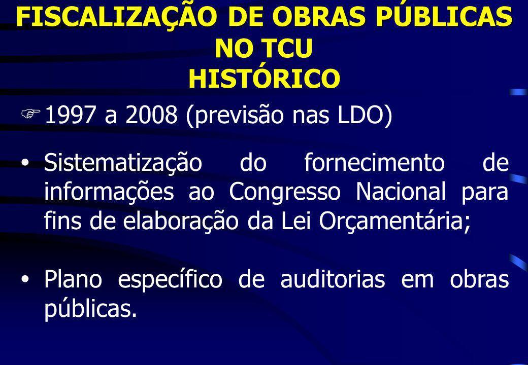FISCALIZAÇÃO DE OBRAS PÚBLICAS FISCALIZAÇÃO DE OBRAS PÚBLICAS NO TCU HISTÓRICO F1997 a 2008 (previsão nas LDO) ŸSistematização do fornecimento de info