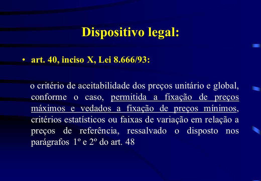 Dispositivo legal: art. 40, inciso X, Lei 8.666/93:art. 40, inciso X, Lei 8.666/93: o critério de aceitabilidade dos preços unitário e global, conform