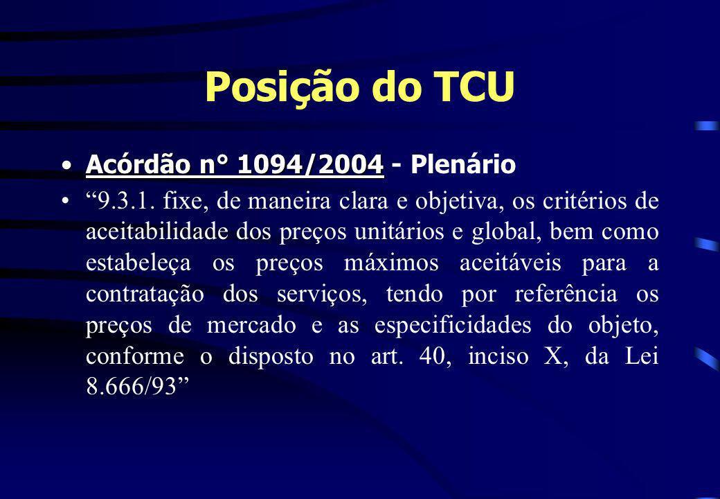 Posição do TCU Acórdão n° 1094/2004Acórdão n° 1094/2004 - Plenário 9.3.1. fixe, de maneira clara e objetiva, os critérios de aceitabilidade dos preços