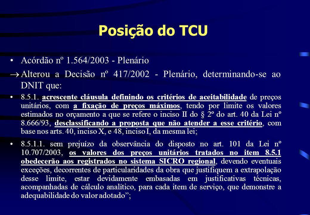 Posição do TCU Acórdão nº 1.564/2003 - Plenário Alterou a Decisão nº 417/2002 - Plenário, determinando-se ao DNIT que: 8.5.1. acrescente cláusula defi