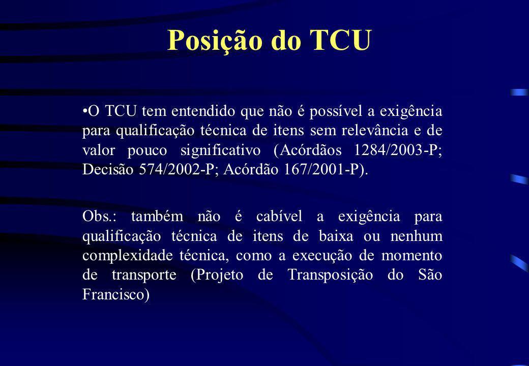 Posição do TCU O TCU tem entendido que não é possível a exigência para qualificação técnica de itens sem relevância e de valor pouco significativo (Ac