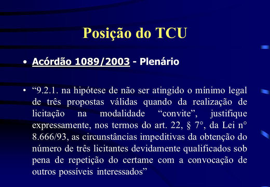 Posição do TCU Acórdão 1089/2003Acórdão 1089/2003 - Plenário 9.2.1. na hipótese de não ser atingido o mínimo legal de três propostas válidas quando da