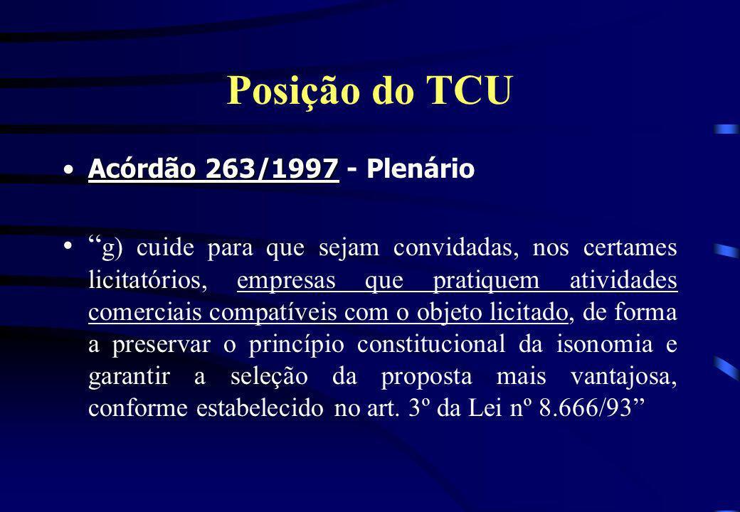 Posição do TCU Acórdão 263/1997Acórdão 263/1997 - Plenário g) cuide para que sejam convidadas, nos certames licitatórios, empresas que pratiquem ativi