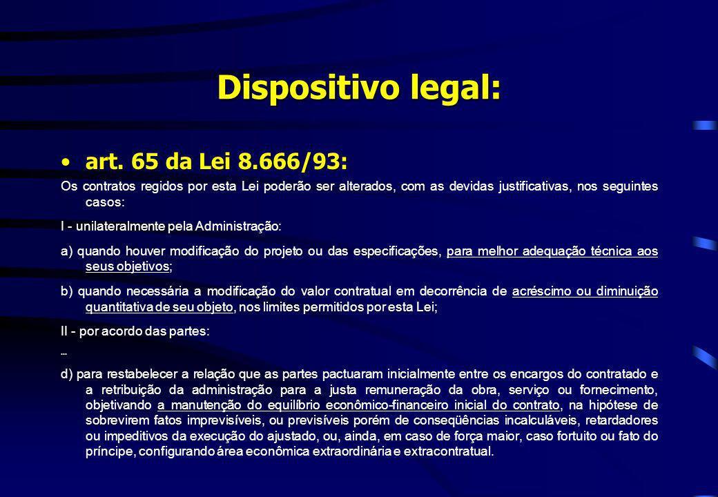 Dispositivo legal: art. 65 da Lei 8.666/93:art. 65 da Lei 8.666/93: Os contratos regidos por esta Lei poderão ser alterados, com as devidas justificat