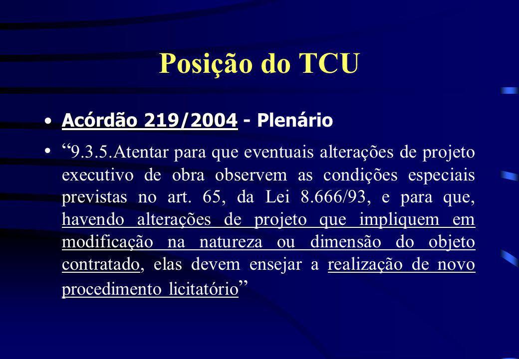 Posição do TCU Acórdão 219/2004Acórdão 219/2004 - Plenário 9.3.5.Atentar para que eventuais alterações de projeto executivo de obra observem as condiç