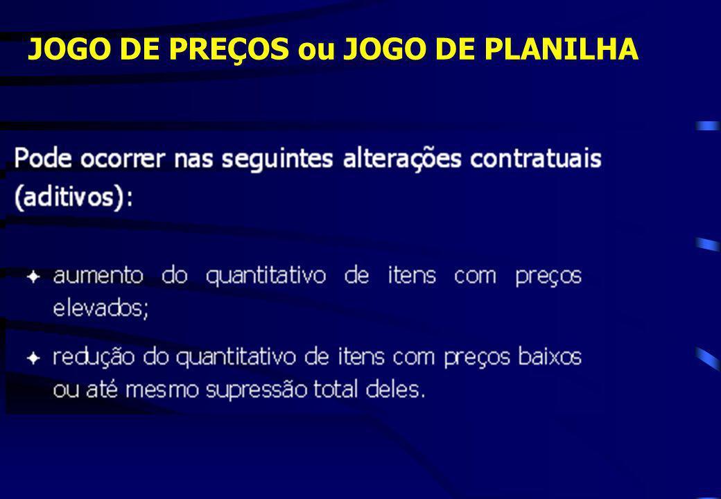 JOGO DE PREÇOS ou JOGO DE PLANILHA