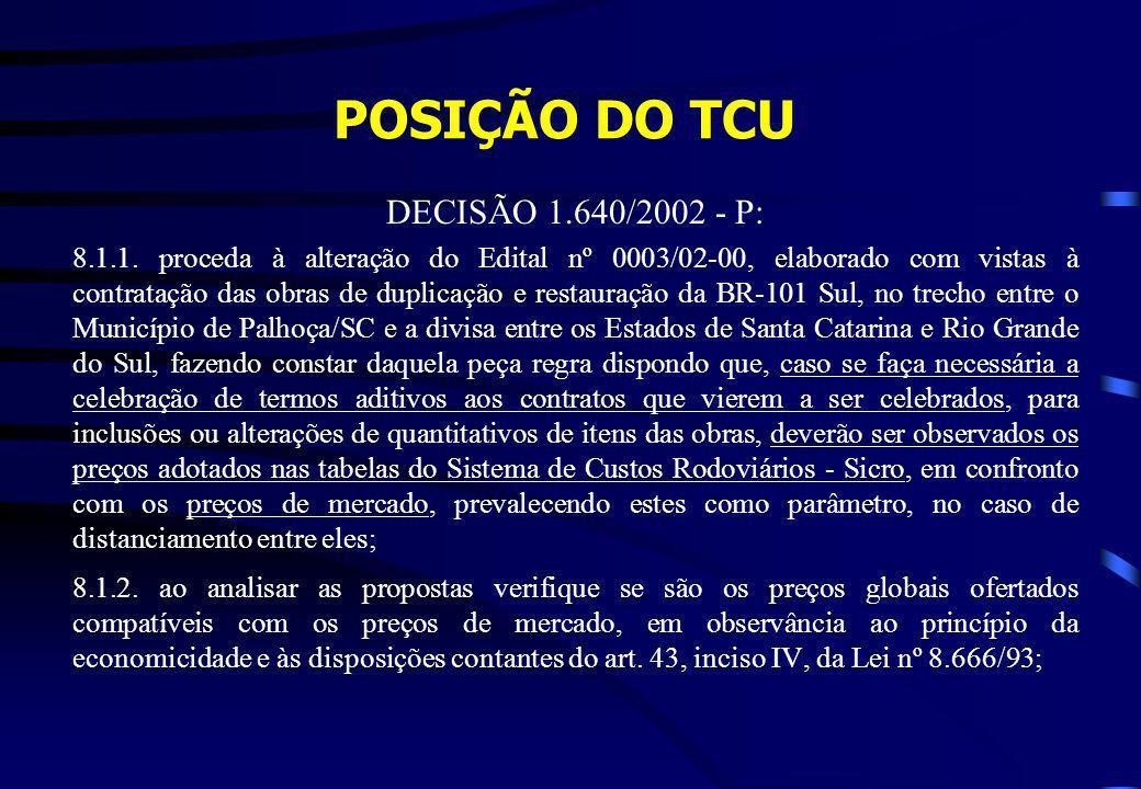 POSIÇÃO DO TCU DECISÃO 1.640/2002 - P: 8.1.1. proceda à alteração do Edital nº 0003/02-00, elaborado com vistas à contratação das obras de duplicação
