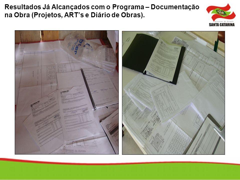 Resultados Já Alcançados com o Programa – Documentação na Obra (Projetos, ARTs e Diário de Obras).
