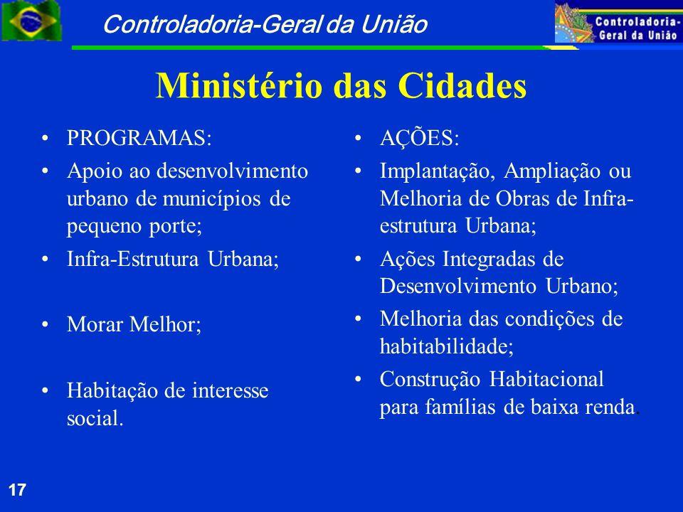 Controladoria-Geral da União 17 Ministério das Cidades PROGRAMAS: Apoio ao desenvolvimento urbano de municípios de pequeno porte; Infra-Estrutura Urba