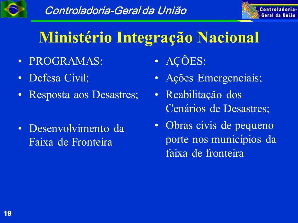 Controladoria-Geral da União 19 Ministério Integração Nacional PROGRAMAS: Defesa Civil; Resposta aos Desastres; Desenvolvimento da Faixa de Fronteira