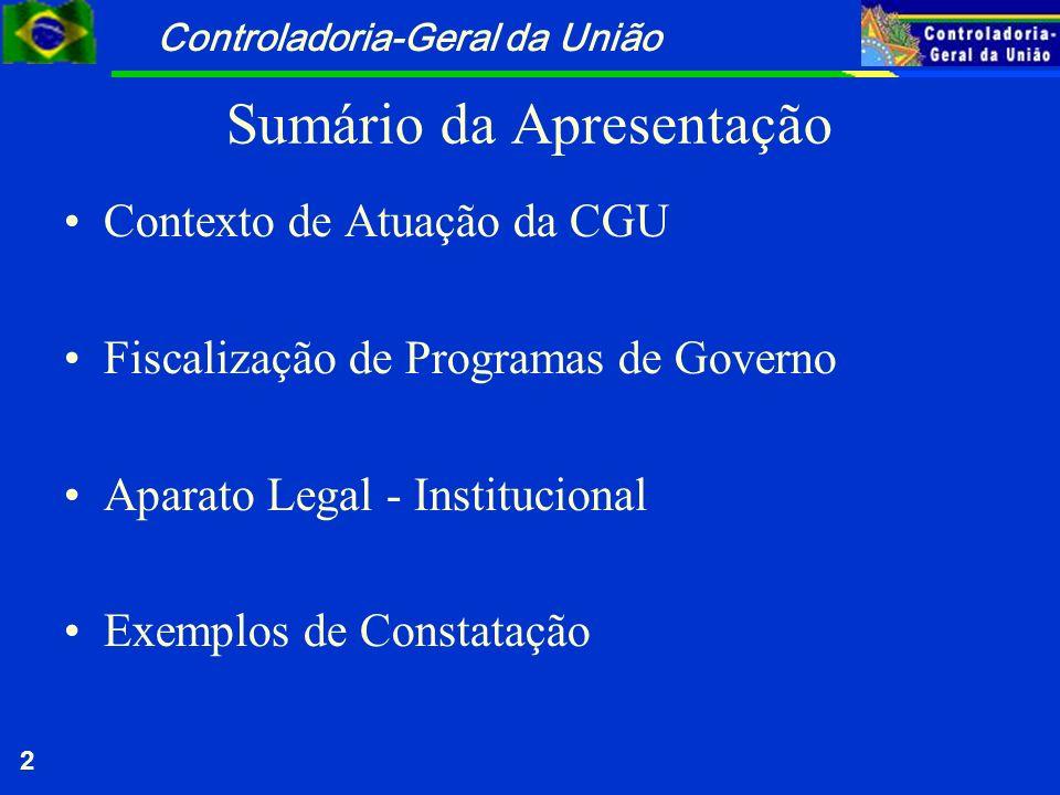 Controladoria-Geral da União 2 Sumário da Apresentação Contexto de Atuação da CGU Fiscalização de Programas de Governo Aparato Legal - Institucional E
