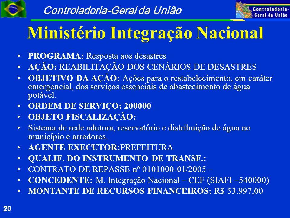 Controladoria-Geral da União 20 Ministério Integração Nacional PROGRAMA: Resposta aos desastres AÇÃO: REABILITAÇÃO DOS CENÁRIOS DE DESASTRES OBJETIVO