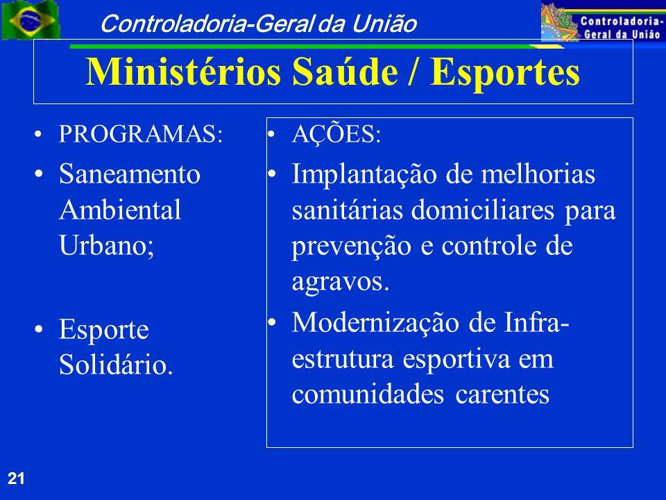 Controladoria-Geral da União 21 Ministérios Saúde / Esportes PROGRAMAS: Saneamento Ambiental Urbano; Esporte Solidário. AÇÕES: Implantação de melhoria