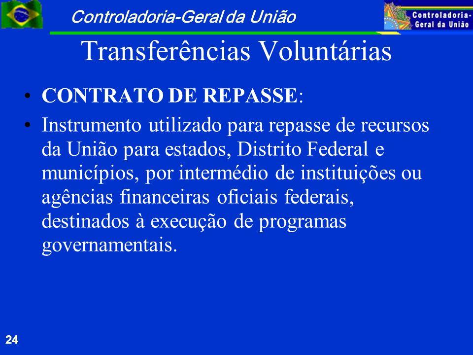 Controladoria-Geral da União 24 Transferências Voluntárias CONTRATO DE REPASSE: Instrumento utilizado para repasse de recursos da União para estados,