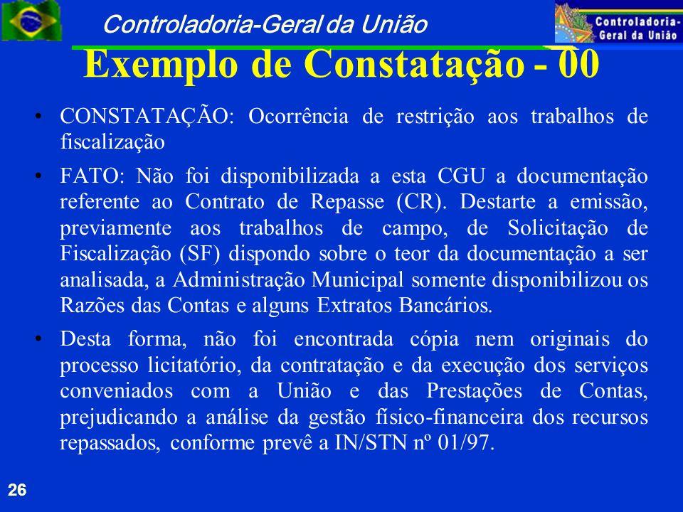 Controladoria-Geral da União 26 Exemplo de Constatação - 00 CONSTATAÇÃO: Ocorrência de restrição aos trabalhos de fiscalização FATO: Não foi disponibi