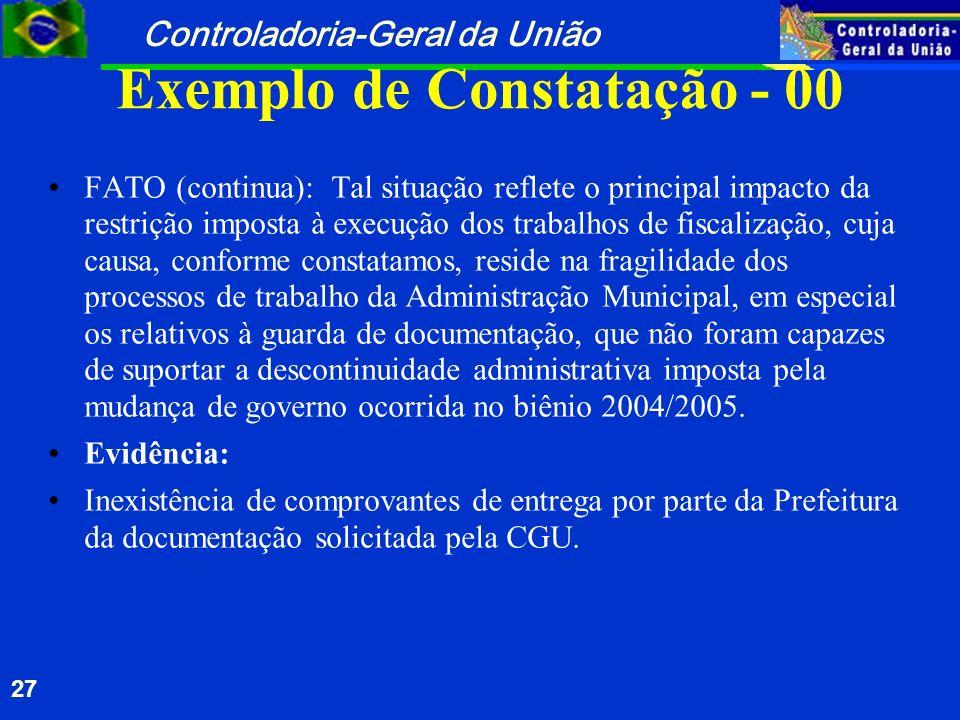 Controladoria-Geral da União 27 Exemplo de Constatação - 00 FATO (continua): Tal situação reflete o principal impacto da restrição imposta à execução