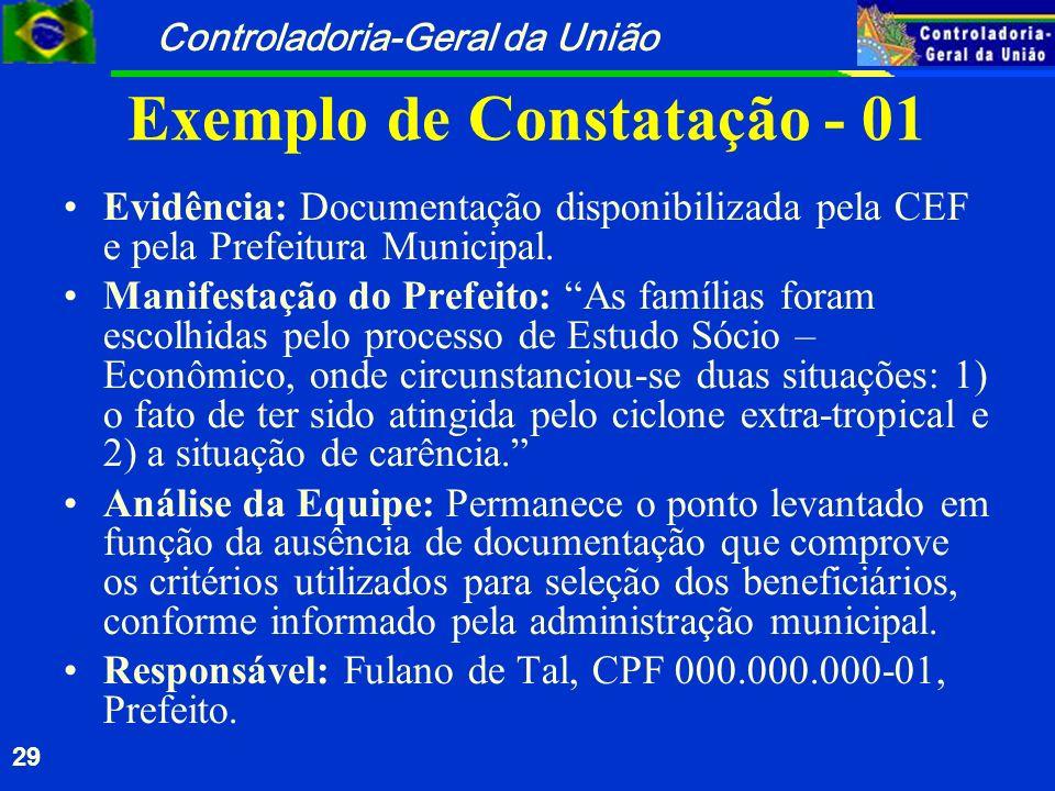 Controladoria-Geral da União 29 Exemplo de Constatação - 01 Evidência: Documentação disponibilizada pela CEF e pela Prefeitura Municipal. Manifestação