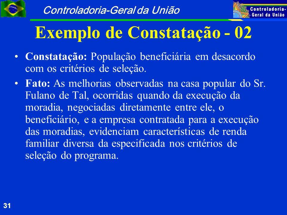 Controladoria-Geral da União 31 Exemplo de Constatação - 02 Constatação: População beneficiária em desacordo com os critérios de seleção. Fato: As mel