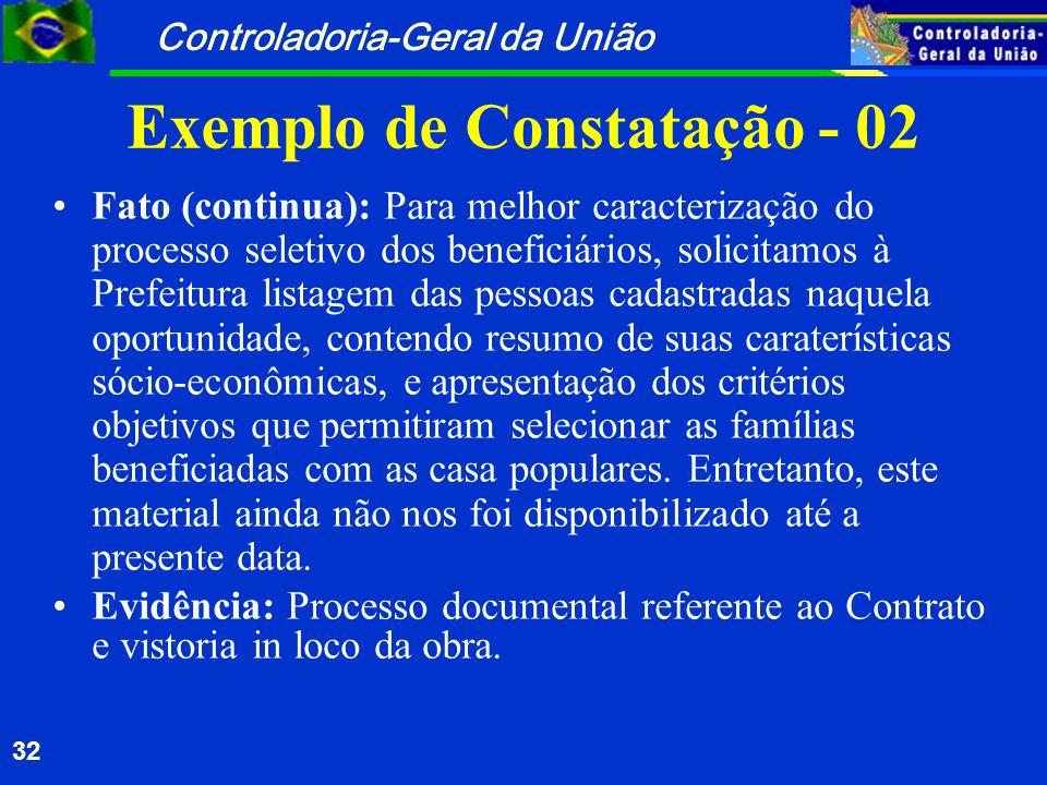 Controladoria-Geral da União 32 Exemplo de Constatação - 02 Fato (continua): Para melhor caracterização do processo seletivo dos beneficiários, solici