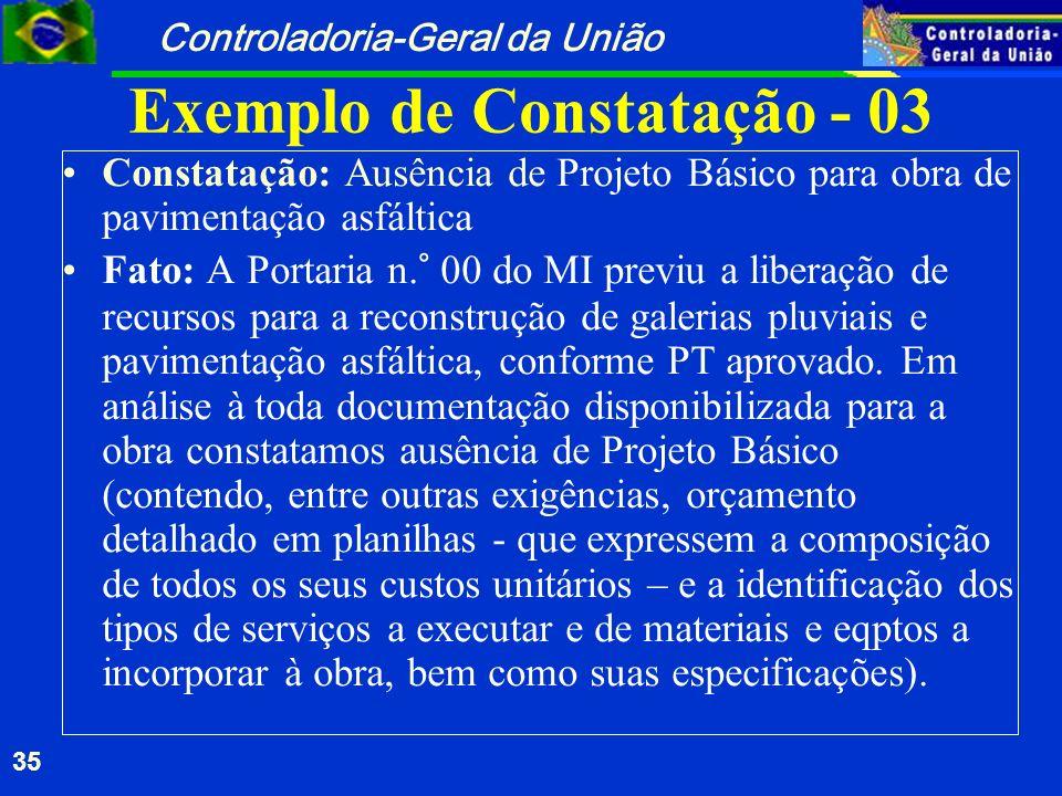 Controladoria-Geral da União 35 Exemplo de Constatação - 03 Constatação: Ausência de Projeto Básico para obra de pavimentação asfáltica Fato: A Portar